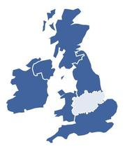 Midlands region in UK map